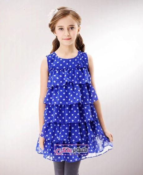 مدل لباس بچگانه - پیراهن سه دامنه دخترانه