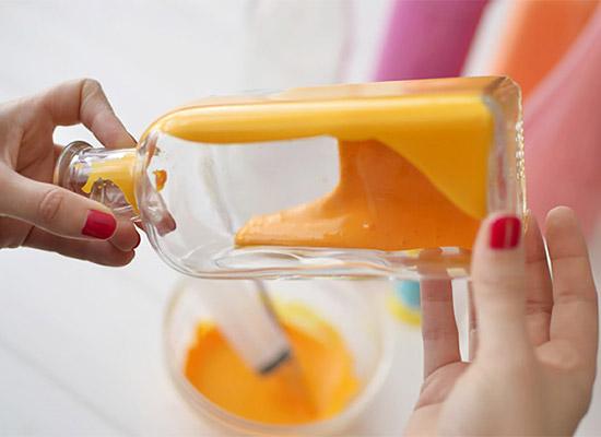 ساخت گلدان رنگی با بطری شیشه ای