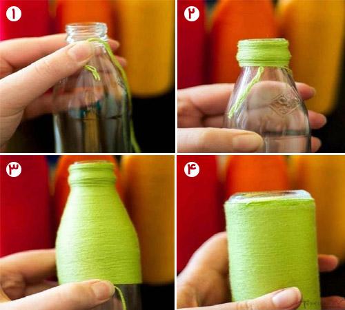 تزیین بطری با کاموا