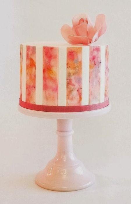 نقاشی روی کیک , کیک آبرنگی