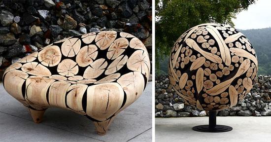 مجسم های ساخته شده از تنه درختان