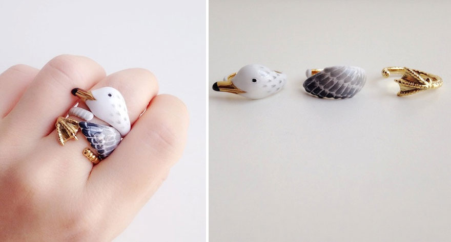 زیورآلات به شکل حیوانات - انگشتر لعابی سه تکه