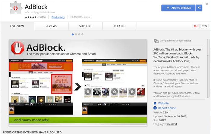 معرفی اپها و افزونههای مسدودکننده تبلیغات،AdBlock برای کروم