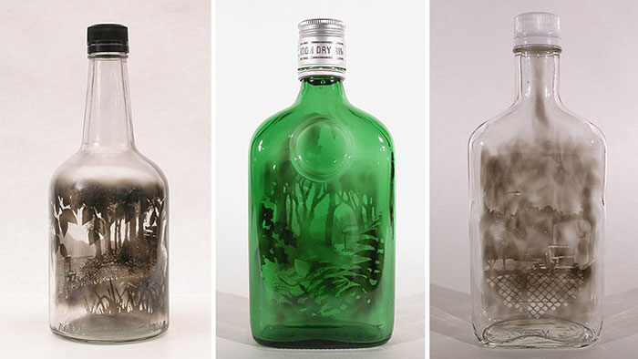 نقاشی با دود - نقاشی در بطری شیشه ای