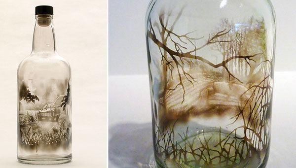 خلق نقاشی های ﺑﻰنظیر در بطری با دود