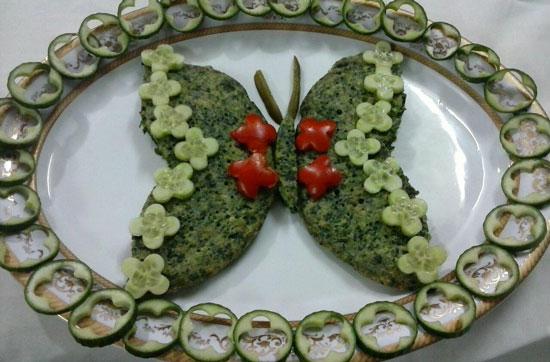 تزیین کوکو - انواع کوکو - تزیین کوکوی سبزی یه شکل پروانه