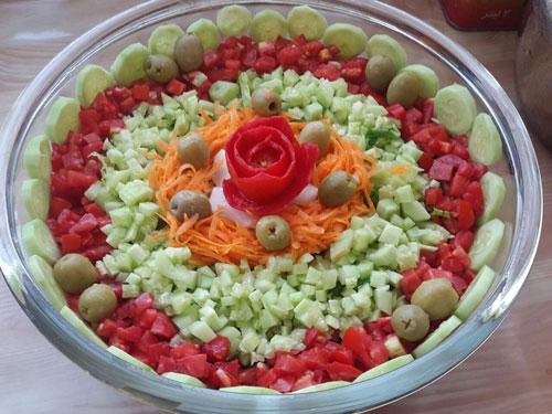 تزیین سالاد شیرازی ، تزیین سالاد سبزیجات ، تزیین سالاد کاهو