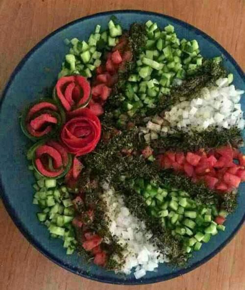 تزیین میز با تور ساتن تزیین سبزه عید نوروز.