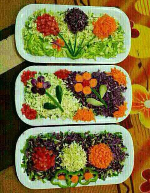 تزیین سالاد فصل ، تزیین سالاد سبزیجات ، تزیین سالاد کاهو