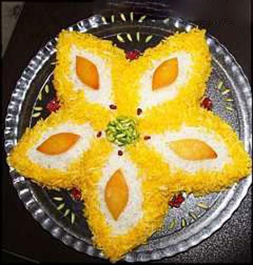 تزیین برنج زعفرانی,تزئین برنج قالبی,تزئین برنج با زرشک,تزئین پلو مجلسی