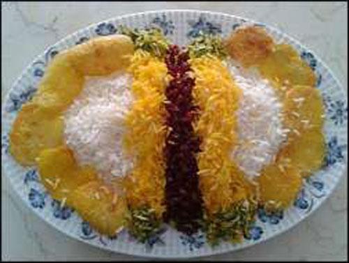 عکس تزیین برنج,تزیین پلو مجلسی,تزیین برنج زعفرانی,تزیین برنج قالبی,تزیین برنج با زرشک