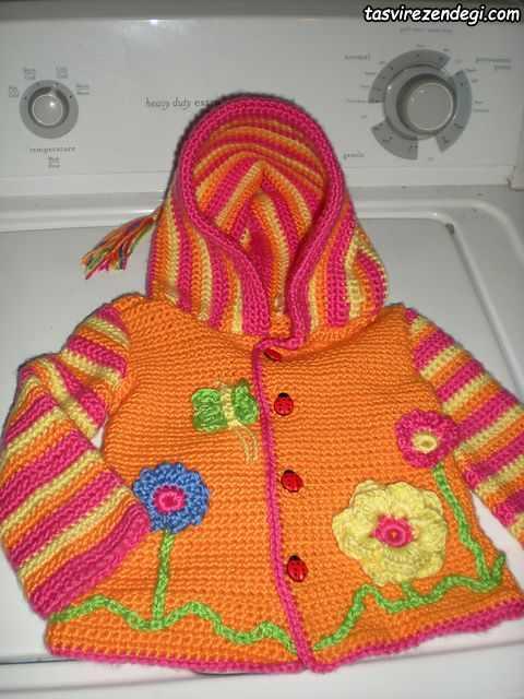 ژاکت بافتنی دخترانه نارنجی