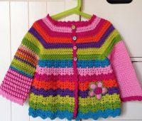 ژاکت بافتنی دخترانه قلاب بافی رنگارنگ