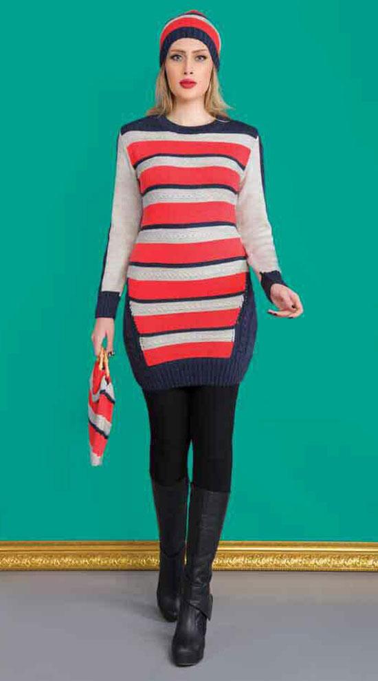 مدل تونیک دخترانه بافتنی - کلاه بافتنی - جوراب بافتنی