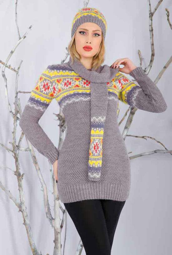 مدل ست زمستانی بافتنی - تونیک بافت - شال بافتنی - کلاه بافتنی