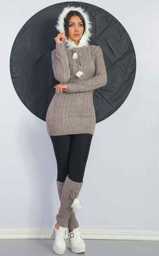 مدل تونیک کلاه دار بافتنی دخترانه
