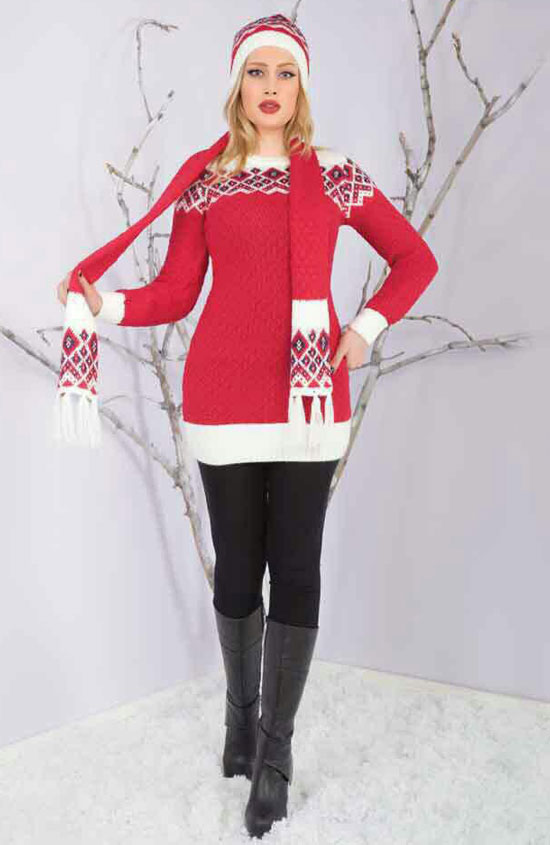 مدل ست زمستانی بافتنی - تونیک - شال - کلاه