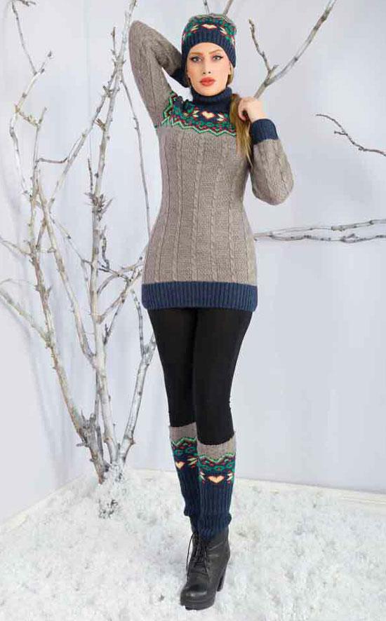 مدل تونیک بافتنی دخترانه - کلاه بافتنی - جوراب بافتنی