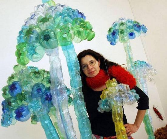 بازیافت بطری پلاستیکی , ساخت گل با بطری