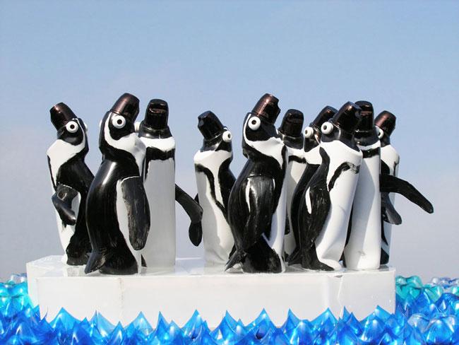 بازیافت بطری پلاستیکی , ساخت پنگوئن با بطری