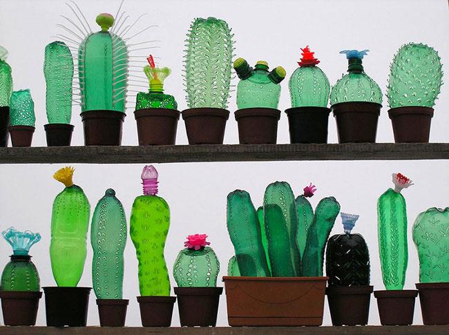 خلق آثار هنری با بطری های پلاستیکی