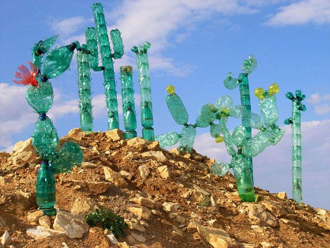 بازیافت بطری پلاستیکی , ساخت گیاه با بطری