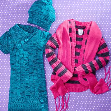 ژاکت و شال بافتنی دخترانه - تونیک بافتنی - کلاه بافتنی