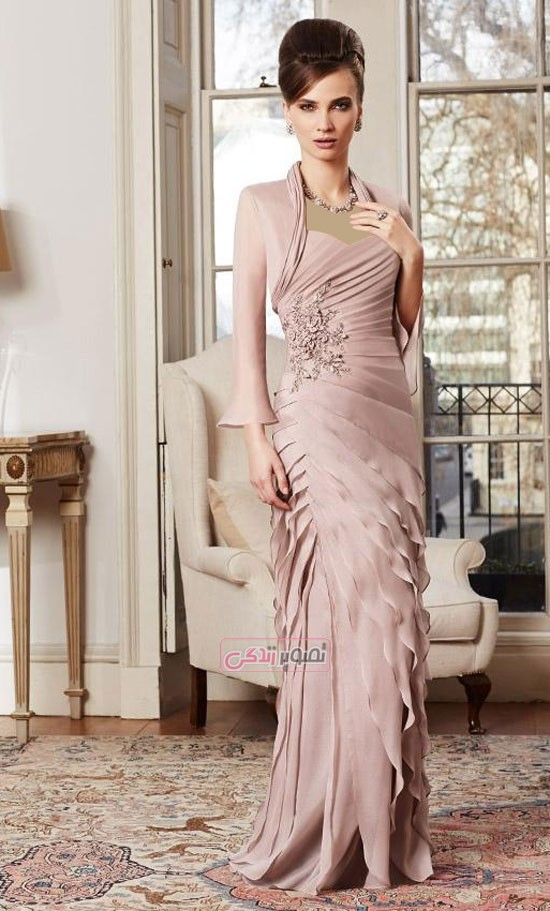 مدل لباس مجلسی 2016 - پیراهن دکلته با کت کوتاه
