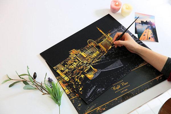 تابلوهای زیبای رنگ آمیزی شده با آب طلا