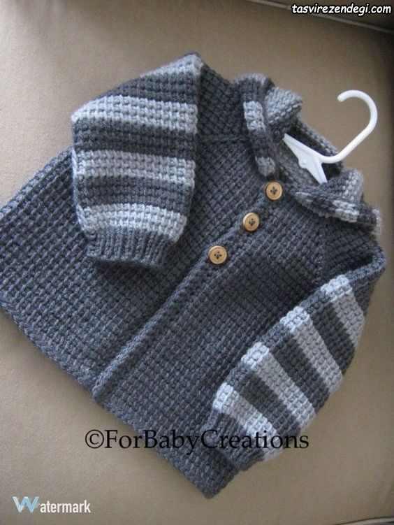 ژاکت بافتنی پسرانه دستباف کلاه دار