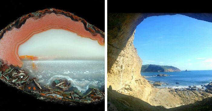 کریستالهای عقیق با طرح شبیه منظره + عکس
