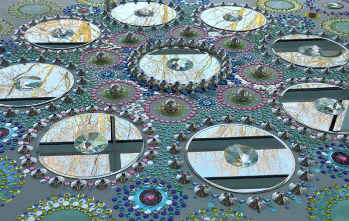 فرشی از کریستال های رنگارنگ