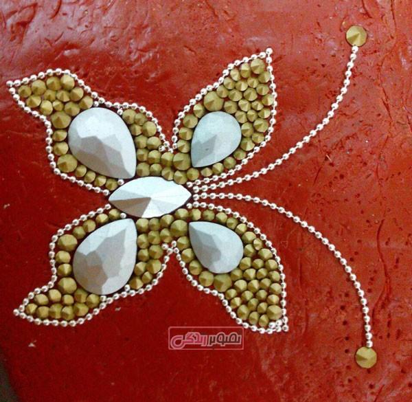 تاج سازی - ساخت پروانه با نگین - تزیین تل - تزیین گیره سر