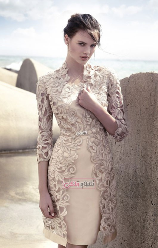 مدل لباس مجلسی گیپور - کت و دامن ساتن