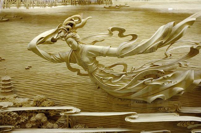 منبت کاریهای بی نظیر و دیدنی روی چوب - مجسمه چوبی