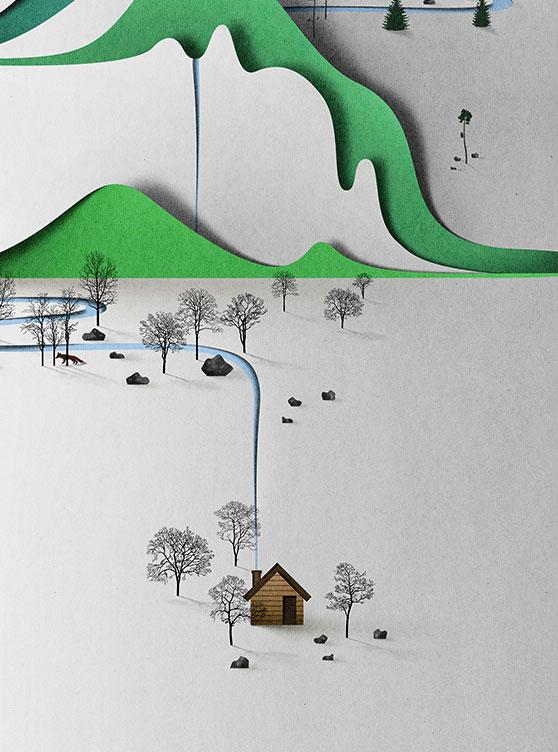 نقاشی های سه بعدی , برش کاغذ دیجیتتالی , نقاشی دیجیتالی