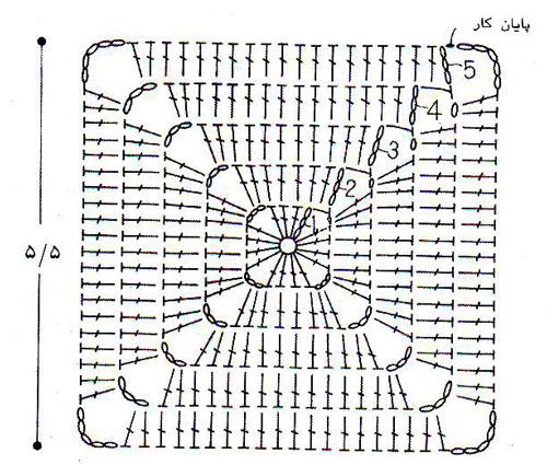 آموزش قلاب بافی - بافت مربع - موتیف مربع