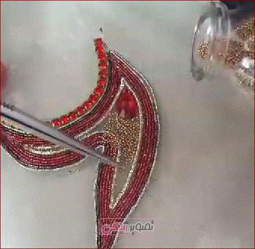 آموزش عثمان دوزی , شفق دوزی  , عثمان دوزی روی لباس مجلسی + فیلم
