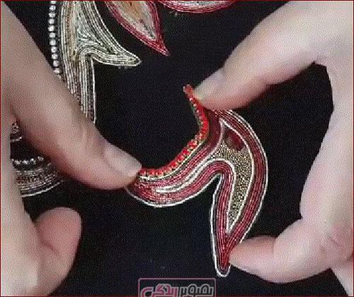 تزیین لباس - شفق دوزی - آموزش عثمان دوزی