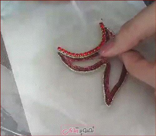عثمان دوزی روی لباس مجلسی - شفق دوزی - آموزش عثمان دوزی
