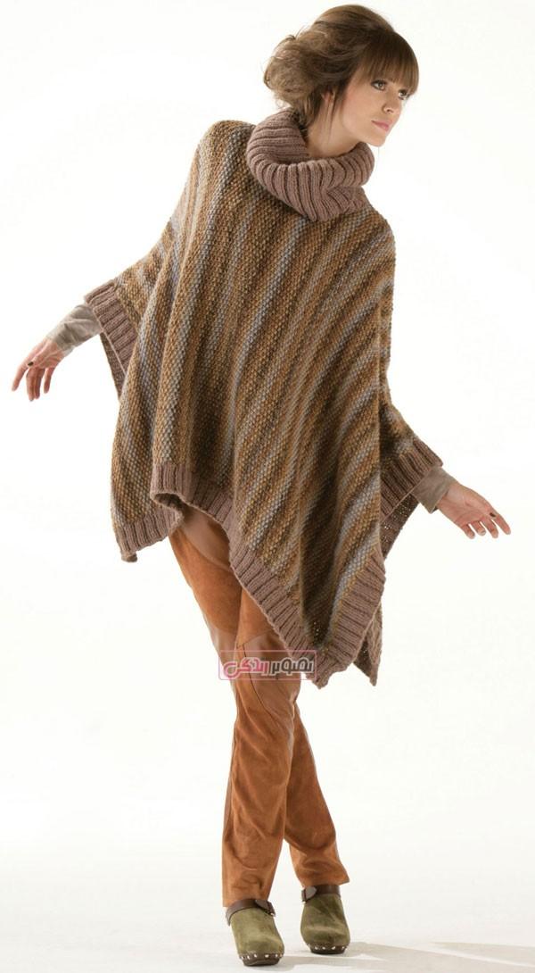 مدل لباس دستباف دخترانه - مدل پانچو بافتنی