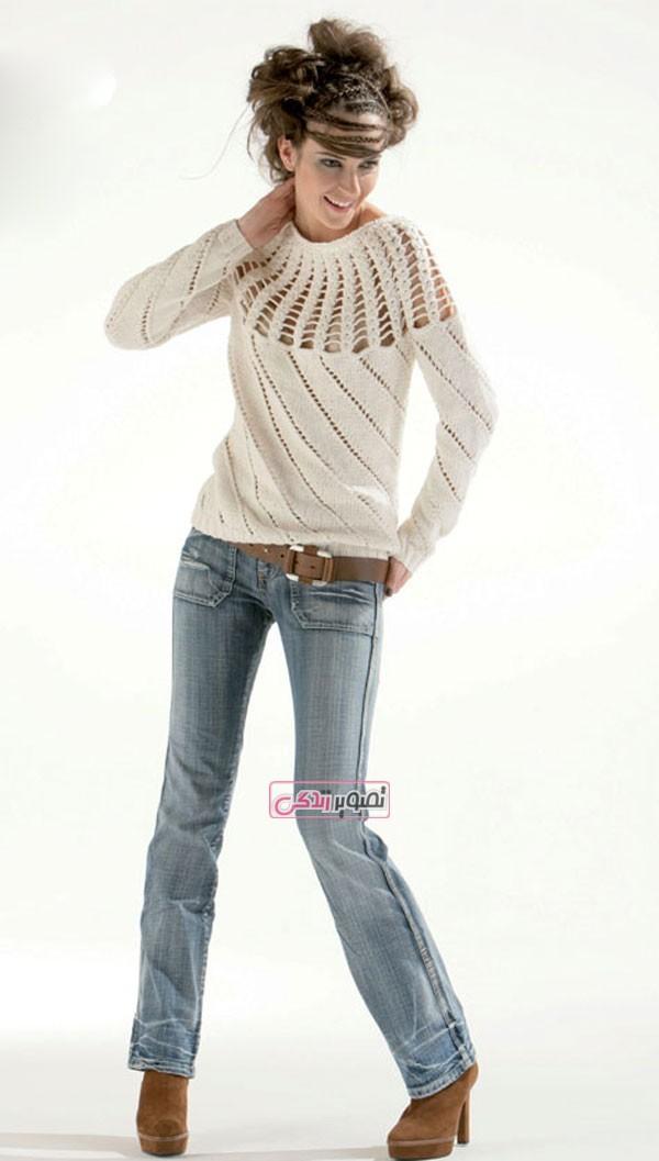 مدل لباس دست باف زنانه - مدل بلوز بافتنی - لباس زمستانی