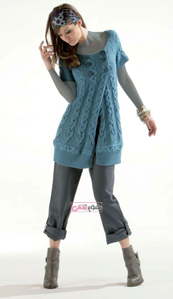 مدل ژاکت دستباف زنانه - جلیقه بافتنی - لباس زمستانی