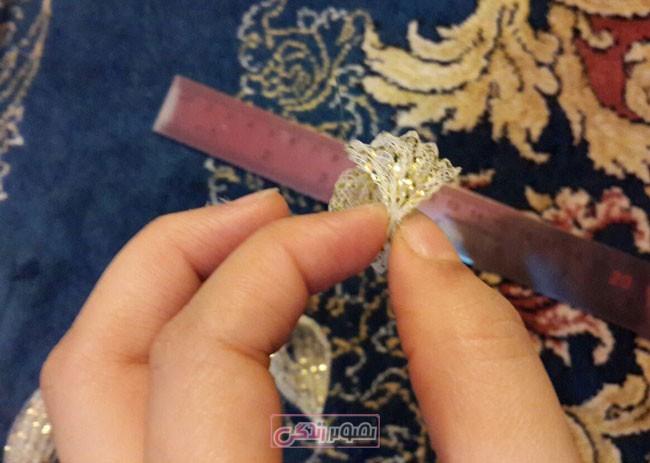 آموزش ساخت زیور آلات  , آموزش ساخت گل سر با روبان تخته ای