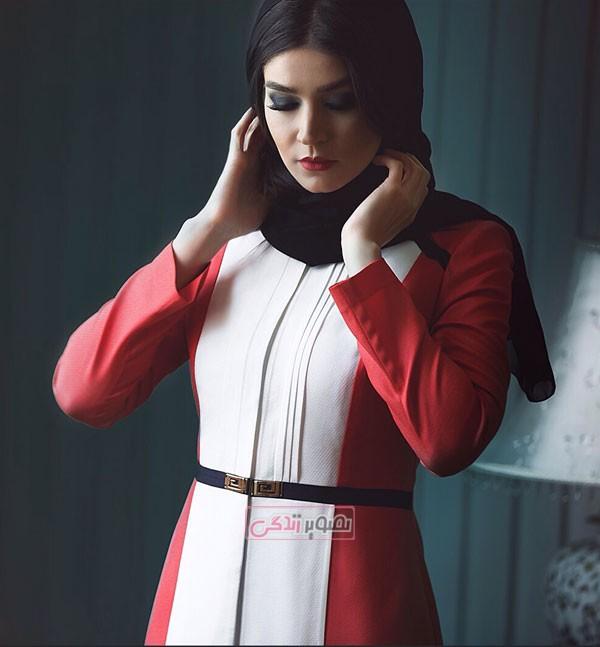 مدل مانتو 94 - مدل مانتو قرمز و سفید - مانتو دخترانه