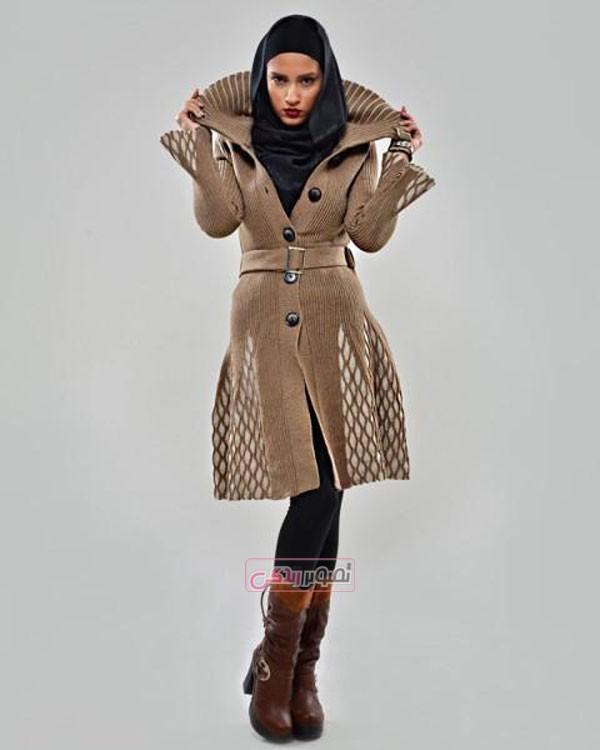 مدل مانتو بافتنی زمستانی - مانتو بافت جلو باز