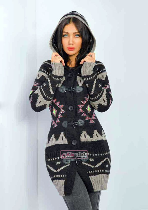 ژاکت کلاه دار بافتنی زنانه - مدل لباس زمستانی
