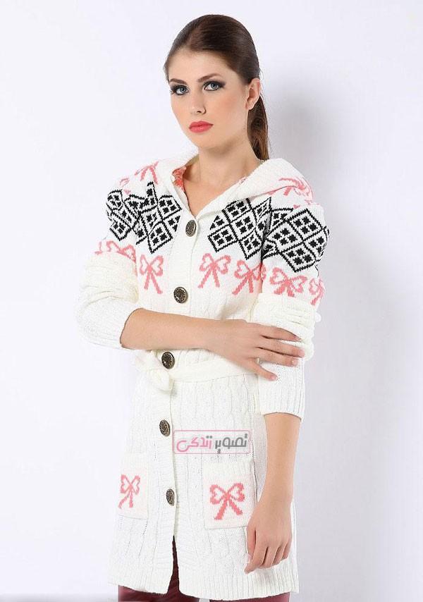 ژاکت بافتنی کلاه دار - مدل لباس زمستانی زنانه