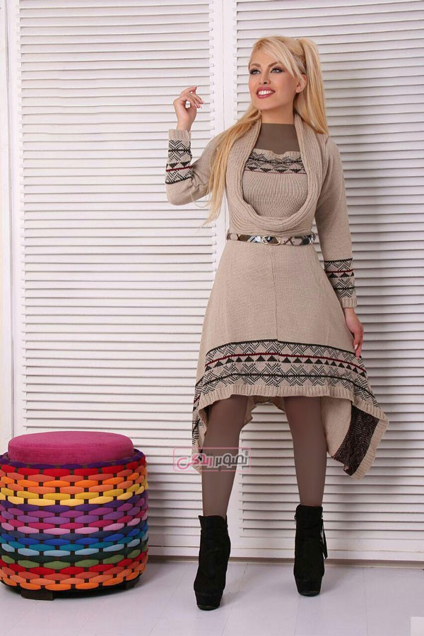 مدل پیراهن بافتنی زمستانی - مانتو جلو بسته بافتنی
