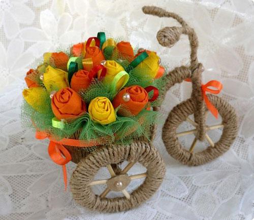 آموزش تصویری ساخت کالسکه گل تزیینی
